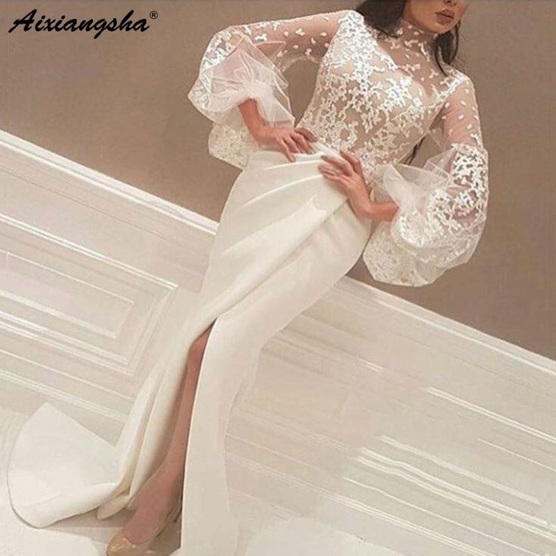 White Muslim   Evening   Prom Gown 2018 Mermaid High Collar Long Sleeves Lace Slit Dubai Saudi Arabic Sexy   Evening     Dresses   Long