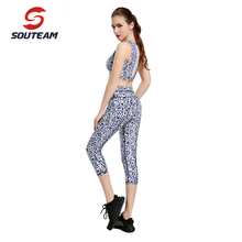 SOUTEAM Women Brand Women's Yoga sets  Running Sets Solid Color Yoga Top & Pants High Quality Sportswea #S160022