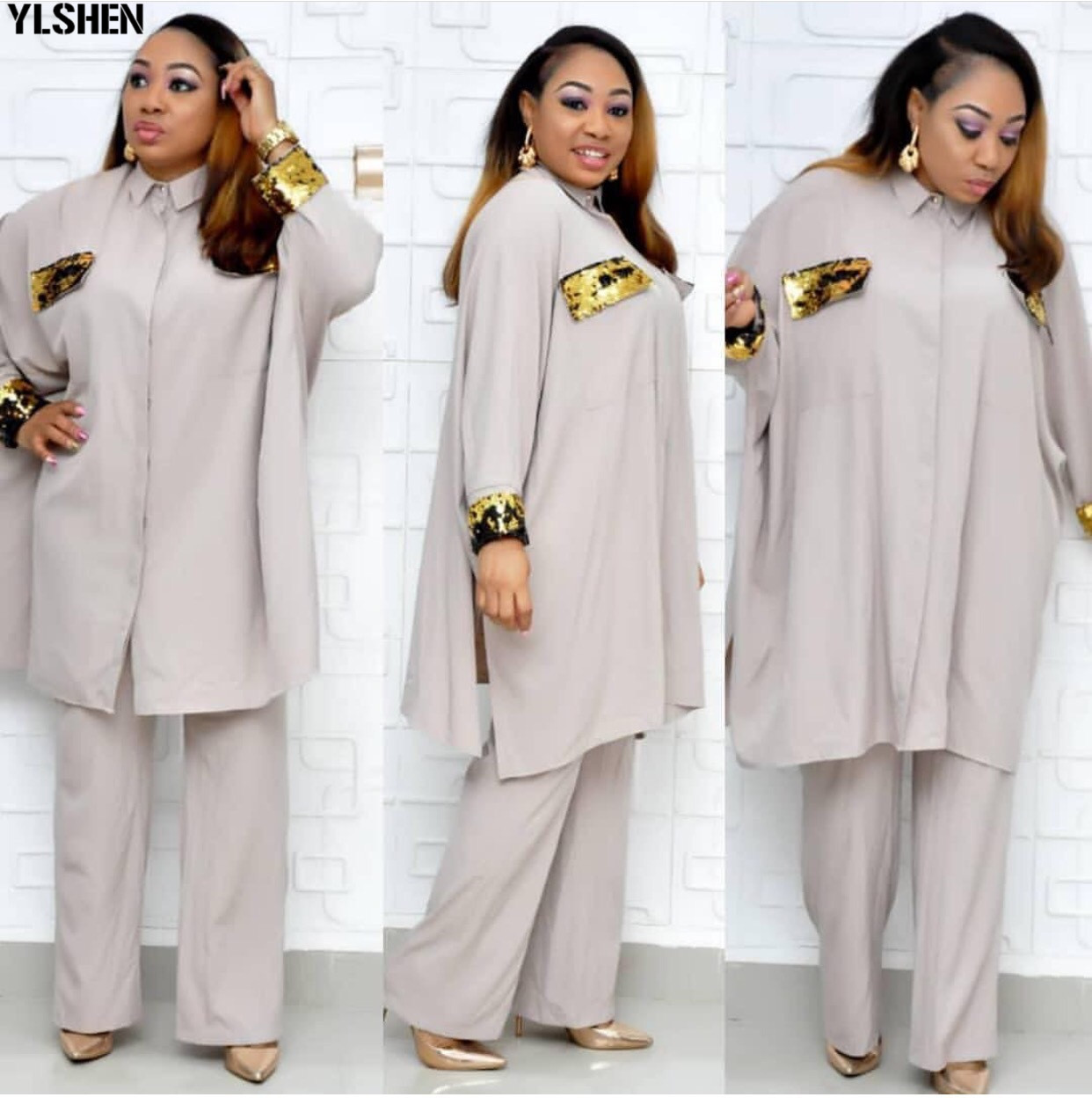 African Dresses For Women Dashiki Tops + Pants 2 Two Piece Set African Clothes Plus Size Women Bazin Riche Africa Dress Clothing