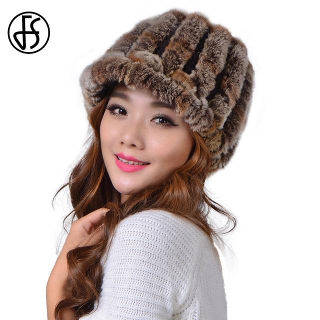 FS punto conejo Rex 100% Pieles de animales sombrero sombreros de invierno  para las mujeres 636e1080473