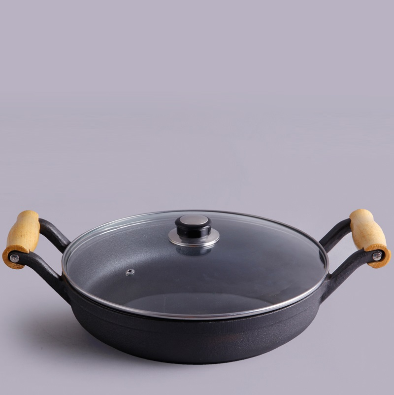 Wooden handle cast iron pan Frying PanWooden handle cast iron pan Frying Pan
