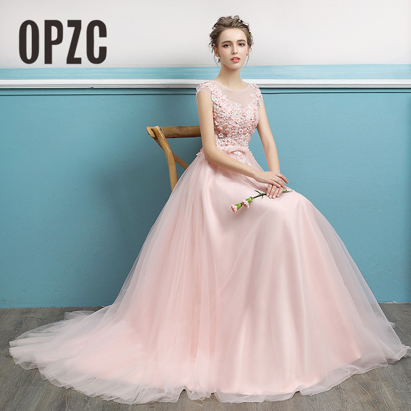Real Photo 2018 Spring Long Evening Dress Sweet Sweep Lace Train Bow Cut out Appliques Flower