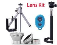 2015 HOT Monopod Selfie Stick Tripod APP Remote Control Lens Kit Magnetic 3 In 1 Lens