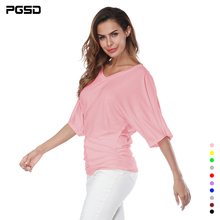 PGSD Simple Pure color T-shirt  Large size womens loose bat sleeve V-neck short-sleeved top Plus Loose 5XL