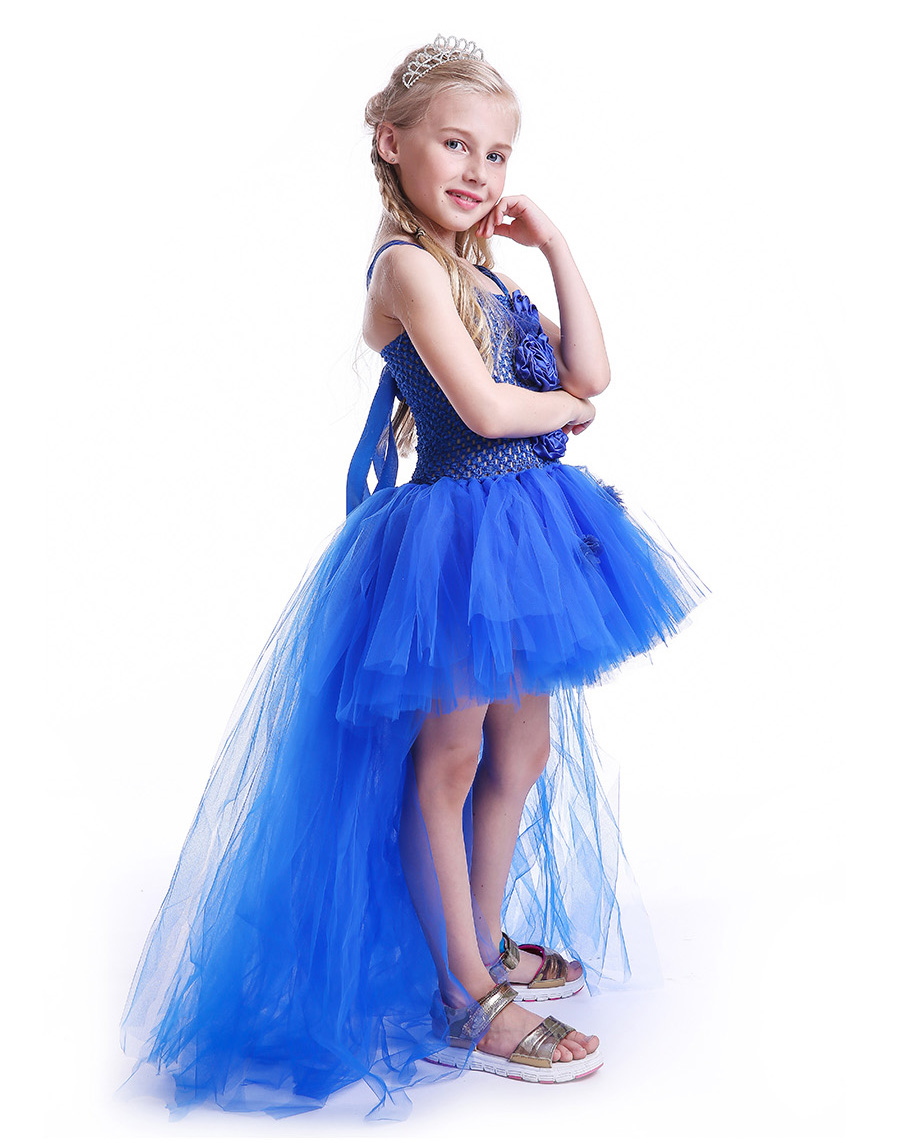 Royal Blue Flowers Girls Tutu Dress High Low Ice Princess Tulle Dress for Wedding Pageant Party Handmade Baby Photo Costume (8)