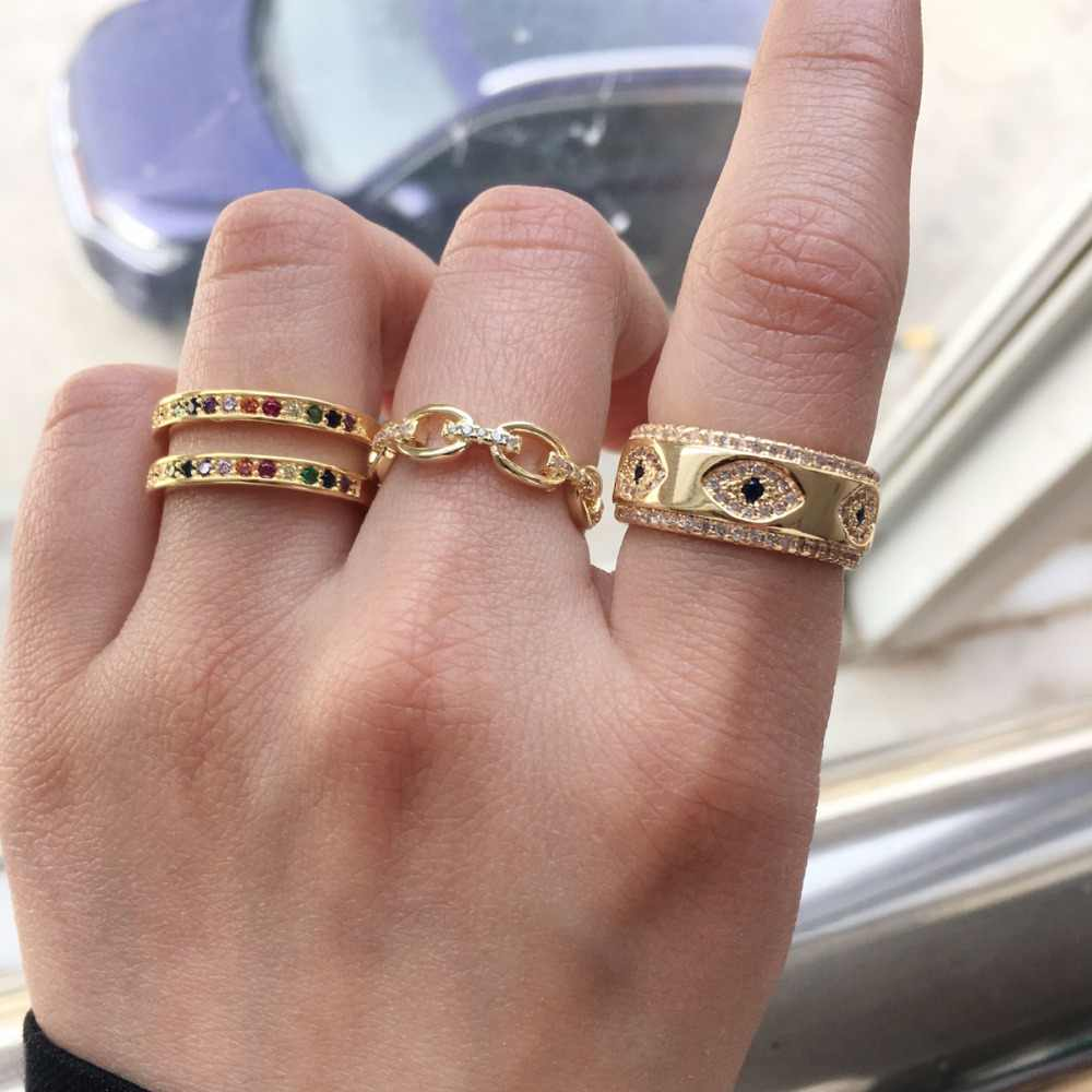 2018 wiadomości kolor złoty galwanicznie link łańcuch hip hop lce się pierścień cz dla kobiet mężczyzna mini finger kamień pierścień hurtownie wysokiej jakości