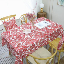 New Table Cloth European Style Tablecloth Waterproof Perris Printing Red Coffee Wedding Home Decor