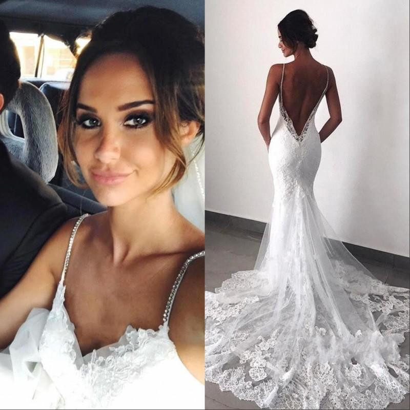 37-1    Sexy New Backless Lace beach Wedding Dresses 2019 Spaghetti Straps Mermaid Layers Appliqued Boho Bridal Gowns wedding gown