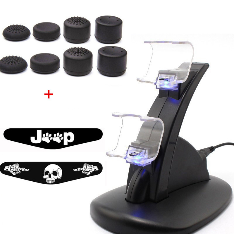 For PlayStation PS4 Pro Slim Controller Charging Station Stand&Enhanced Joystick Grip cap& Led Light Bar Sticker For PS4 Console