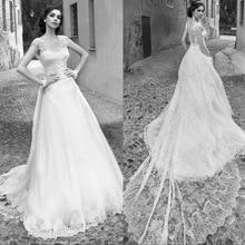Romantic Appliques Lace A Line Wedding Dresses 2019 Bridal