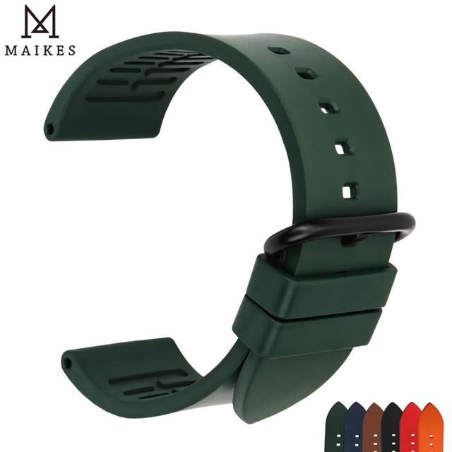 Maikes pulseira de relógio, pulseira de relógio de borracha 20mm 22mm 24mm fluoro, acessórios de pulseira de relógio para huawei gt seiko relógio de cidadão