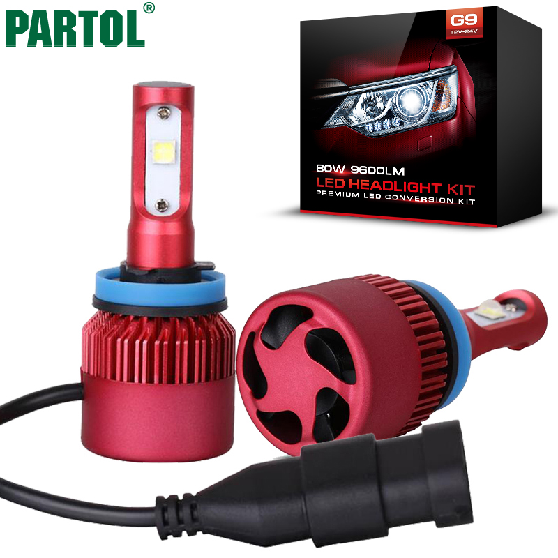 Partol G9 H11 H8 H9 Car LED Headlight Bulbs 80W 9600LM XHP50 Chip All in one LED Headlamp Automobile Fog Lamp 6500K 12V
