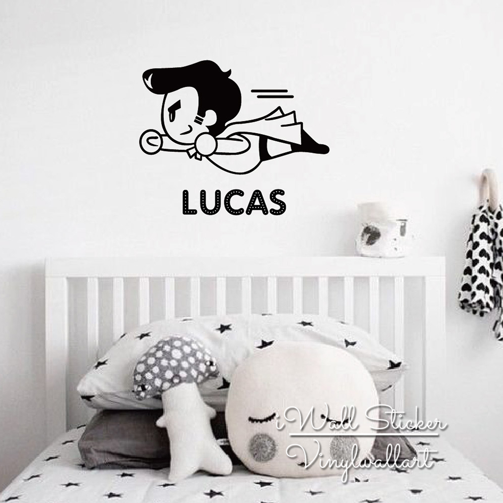Custom Name Boys Name Wall Sticker Flying Man Name Wall Decal Baby Nursery Personalized Name Stickers Cut Vinyl C1