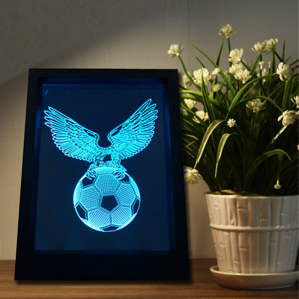 Eagle Football 3D Photo Frame lamp 7 Color Change Night Light Creative Touch Remote Control 3D Lamp LED Gradient Illusion Light easter gift remote control led color change night light