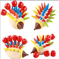 1sets/lot Wooden Colorful Hedgehog Assemble Toys Cartoon Wooden Toys Baby Fight Plug Build Blocks Early Education Toys
