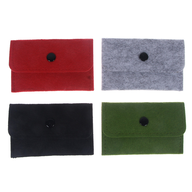 1PC Thin Wallet Solid Square Felt Mini Coin Purse Small Bag Mini Wallet Girl Change Purse Bag Business Card Holder Coin Purses & Holders