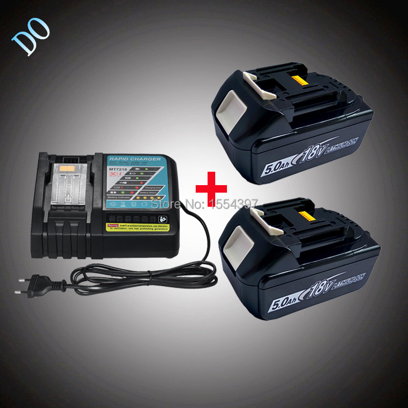 2PCS 18V 5000mAh BL1850 Rechargeable Lithium Ion with Power Tool Battery Charger Replacement for Makita 18V BL1840 DC18RC DC18RA replacement li ion battery charger power tools lithium ion battery charger for milwaukee m12 m18 electric screwdriver ac110 230v