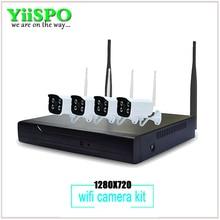 CCTV 4ch 720 P Высокого Разрешения Wifi Беспроводной Surveillence Комплект 4 Г WI-FI Открытый Водонепроницаемый HD ВИДЕОРЕГИСТРАТОР для Безопасности система