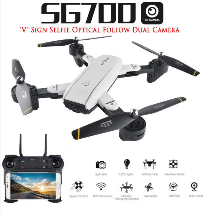 SG700 RC Qudacopter with WiFi FPV Camera Foldable Selfie Drone 6-Axis Gyro Altitude Hold Headless RC Helicopter VS E58 XS809HW все цены