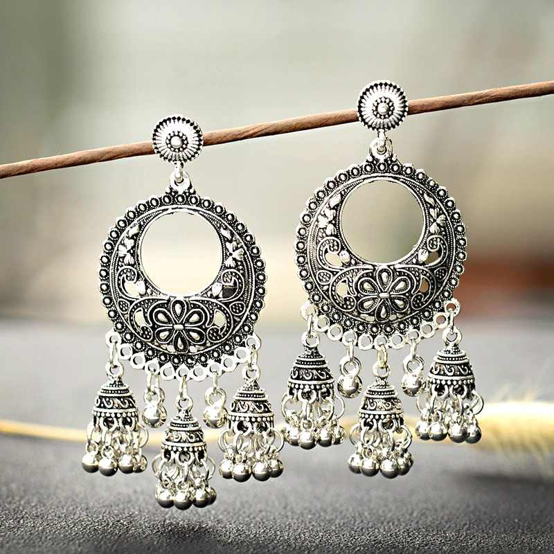 2019 Silver Round Egypt Vintage Jhumka Bells Tassel Earrings For Women Flower Classic Turkish Tribal Gypsy Indian Jewelry HXE103