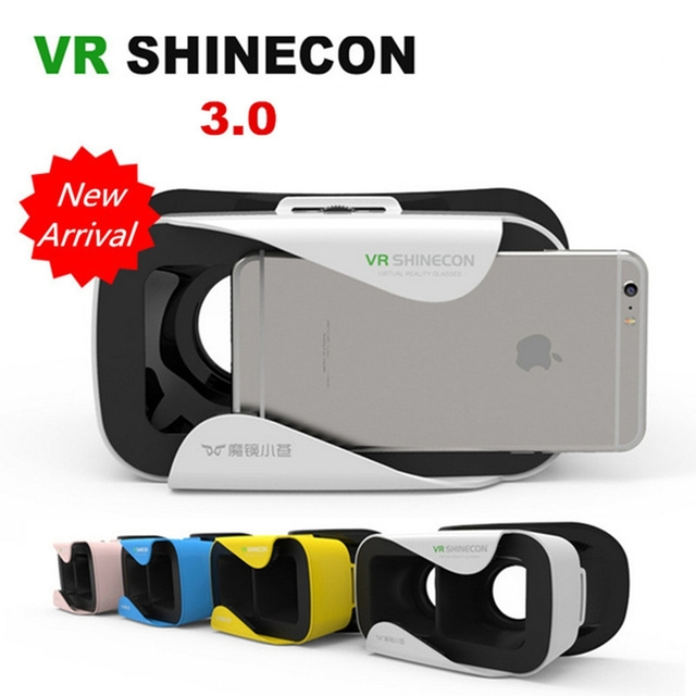 4 Colors VR Shinecon III Google Cardboard Virtual Reality 3D Glasses VR BOX Helmet Quality Leather Headset for 4.7-6 inch Mobile