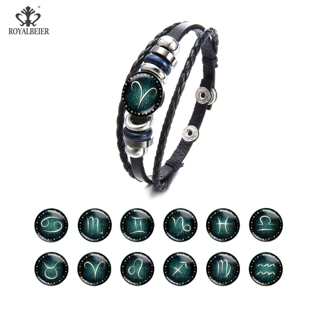 ROYALBEIER New Arrivals Fashion Multiple Layer Twelve Constellations Leather 12 Zodiac Bracelet Weave Rope Braslet Jewelry