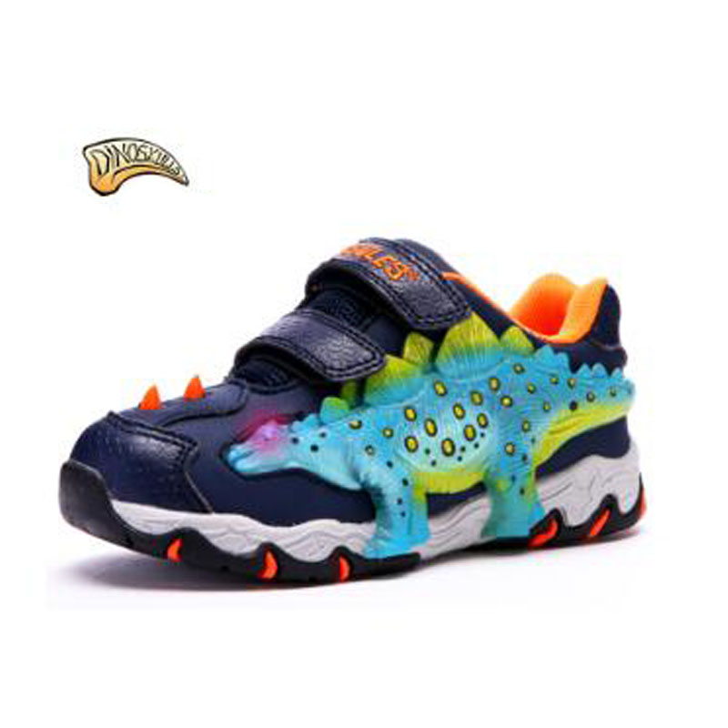 Dinoskulls Luminous Kids Shoe New Spring Autumn Winter Boys Girls Shoes Children's Sneakers Led Light 3D Dinosaur Baby Shoes