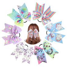 Large printing unicorn Cheer Bow Hairpin Girls Cheerleader Rainbow Hair Ponytail Tie with Elastic Band For Teenagers