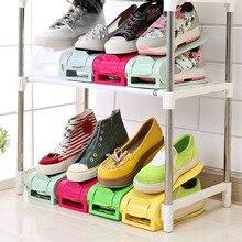 High Quality Adjustable PP Plastic Double Shoe Racks Sapato Living Room Convenient Shoebox Shoes Organizer Stand Shelf 7 Colors