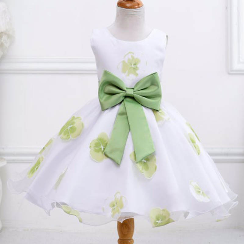 2017 Hot Style Beautiful Floral Print   Flower     Girl     Dress   For Weddings Children Kids Birthday Princess   Dress   LM008