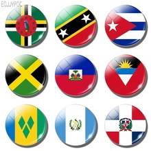 The Republic of Cuba Flag 30MM Fridge Magnet Glass Dome Magnetic Refrigerator Stickers Note Holder Home Decoration