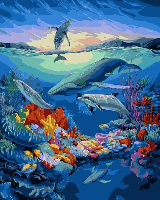 Mahuaf J552 Hewan Bawah Laut Dunia Diy Minyak Lukisan Pada Kanvas