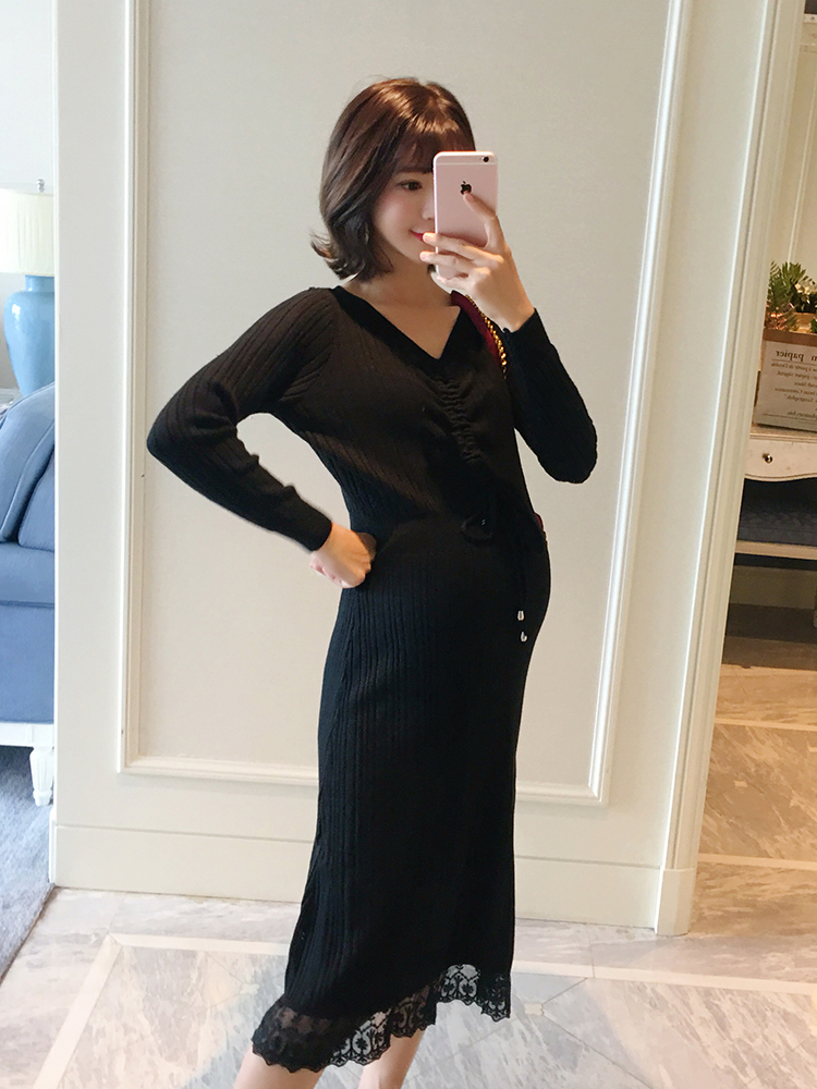 цены на Pregnant women drawstring lace stitching knit dress Pregnant women autumn fashion section 2018 new Korean version в интернет-магазинах