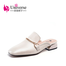 Women Genuine Leather Mules Round Toe Low Heels 3cm Universe Sandals Slip-on Summer Slippers Flat Heel J019
