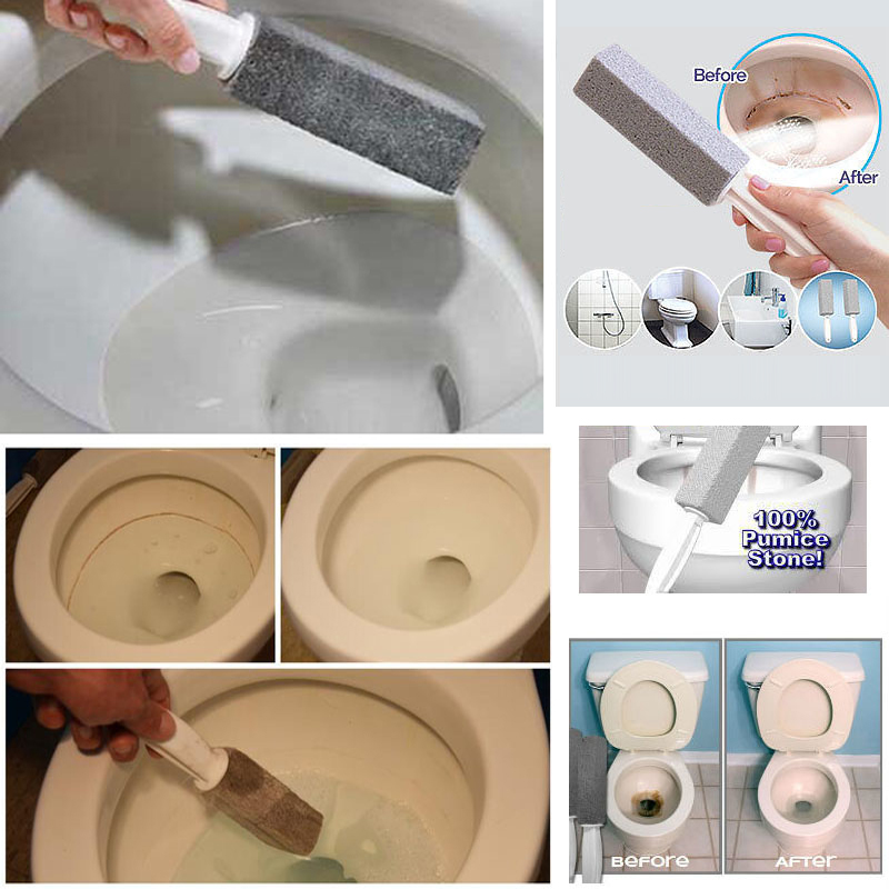 1Pc Natural Pumice Stone Toilets Brush Quick Cleaning Stone Cleaner with Long Handle for Toilets Sinks Bathtubs