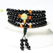 Dragon Black Buddha Mala Beads Bangles&Bracelets Handmade Jewelry Ethnic Glow in the Dark Bracelet for Women or Men 2019