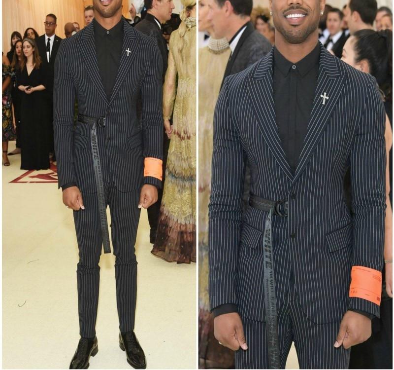 Thorndike 2018 최신 패션 디자인 남자 정장 블랙 스트라이프 남자 댄스 파티 신랑 웨딩 드레스 2 조각 (자켓 + 바지)-에서정장부터 남성 의류 의  그룹 1