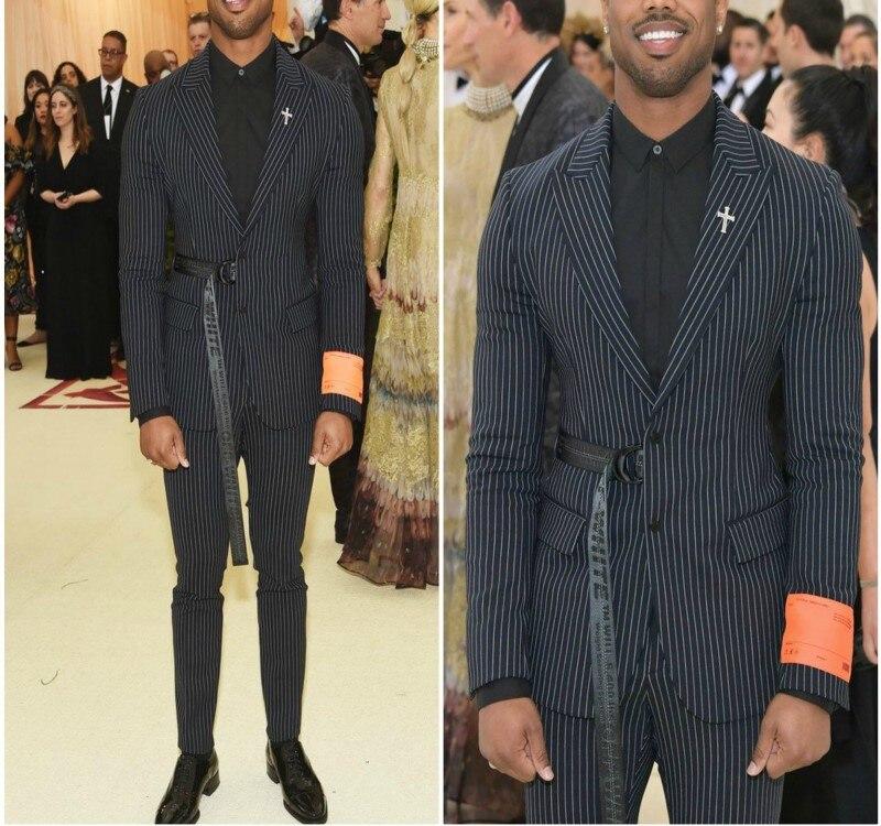 Thorndike 2018 el último diseño de moda de los hombres de traje negro a rayas de los hombres de baile fiesta novio vestido boda Vestido 2 pieza (chaqueta + Pantalones)-in Trajes from Ropa de hombre    1