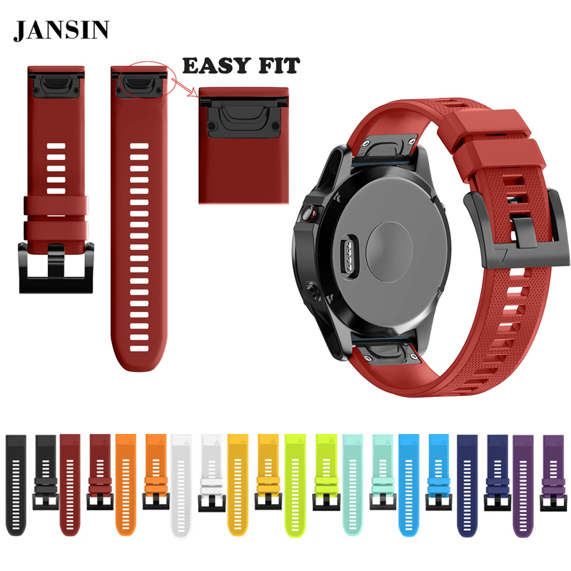 JANSIN 22mm Watchband for Garmin Fenix 5 Easy Fit Silicone Replacement Band Sports Silicone WristBand for forerunner 935 GPS outdoor sport strap for garmin fenix 5 metal band with quick fit stainless steel watchband 22mm width for garmin forerunner 935
