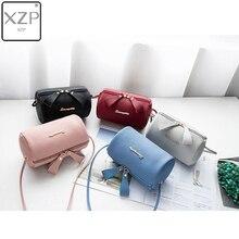 XZP Women Handbag Small Purse Bucket Bag Cell Phone Shoulder Cute Solid Barrel-shaped Fashion Cross Body Zipper Bags