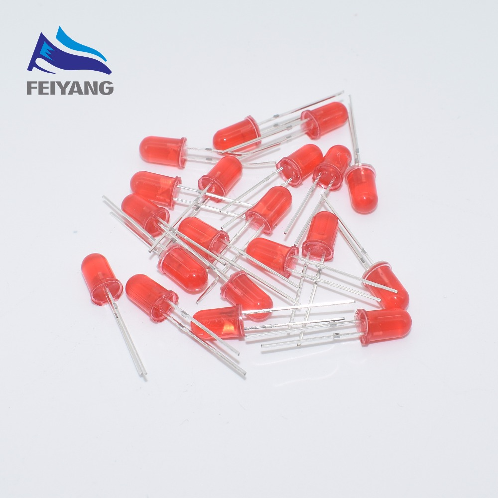 500Pcs LED DIFFUSED F5 5MM RED COLOR RED LIGHT Super Bright Bulb Lamp