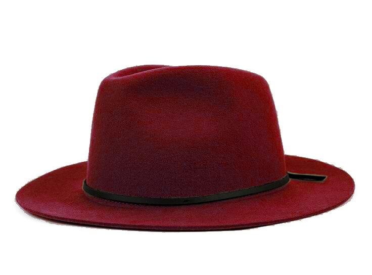 Модная шерсть Летняя женская мужская крученая натуральная Фетровая Шляпа Fedora Bush Sun Hat Trilby Gorra Toca Sombrero с кожаным ремешком - Цвет: Wine red