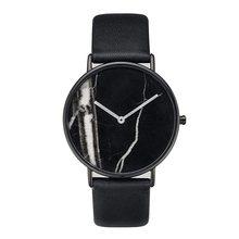 Новый Таймер Для женщин наручные Для мужчин простой Мрамор поверхности циферблат Quatz часы из искусственной кожи ремешок пару Часы
