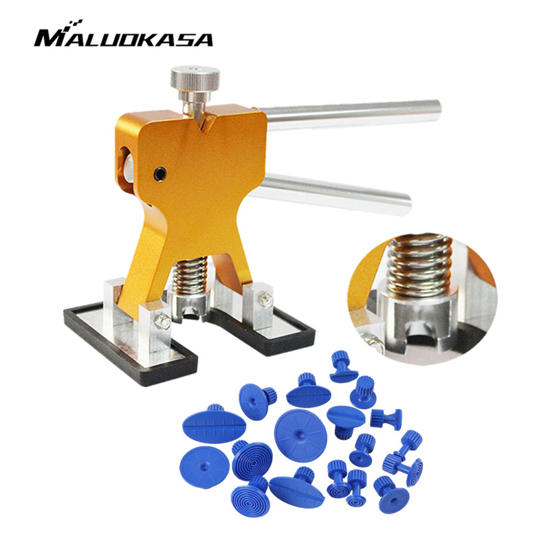 MALUOKASA Adjustable Paintless Car Body Dent Lifter Puller Hail Removal Repair Tool + Glue Tabs Automotive Repair Tool Dent Lift