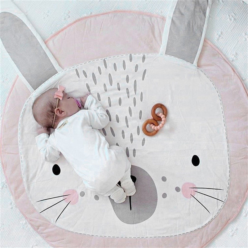 Soft Cotton Cartoon Rabbit Baby Kids Game Gym Carpet Activity Play Mat Crawling Blanket Floor Rug New