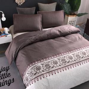 Image 4 - Brown Color Brief Floral Duvet Cover Set Bed Set Twin Double Queen size Bed linen Bedclothes bedding sets(No Sheet No Filling)