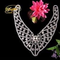 (1 pezzo) FAI DA TE Craft Motif Sliver Cristallo di Vetro Flatback Wedding Sash Cintura di Cristallo Applique Perla Diamante Strass