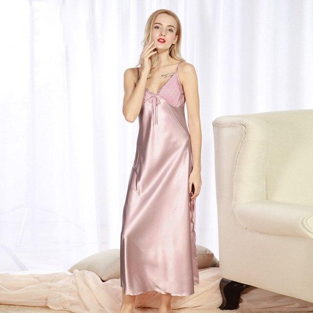 713fae1f5a Long Women Summer Night Dress Plus Size Sexy Lace Nightgown Silk Satin  Nightdress Night Gown Nightwear