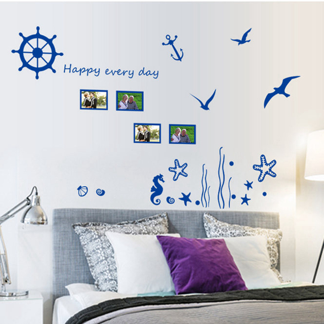 Mediterranean Style Wall Sticker Seaman Wall Decal Nautical Home Decor  Adhesive Mural Removable Marine Style Vinyl