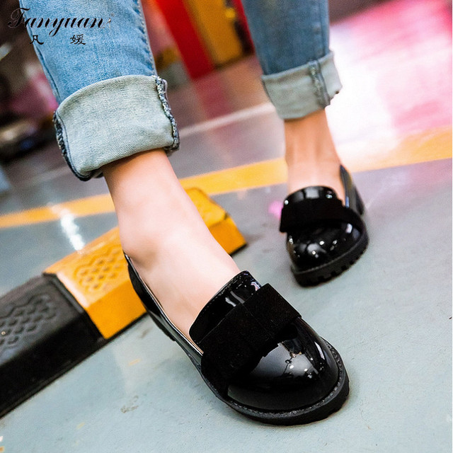 2017 New Women Solid Sweet Butterfly-knot Shallow Pumps Round Toes Big Size  Girls Sweet Spring Med Heels shoes